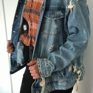 Zara Distressed Denim Jacket with Ties